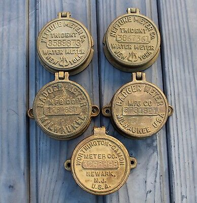 5 Brass or Bronze Water Meter Covers Badger~Worthington~Neptune,