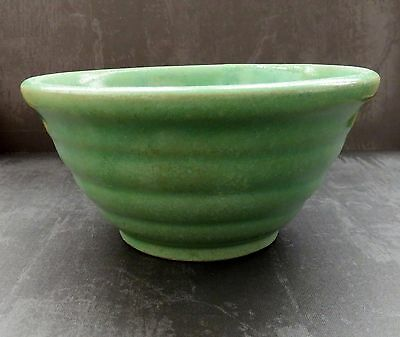 """Watt Pottery 1940's No. 5 Green Ring Pattern Mixing Bowl Marked """"5 Oven Ware"""""""