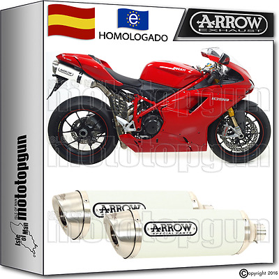 Arrow 2 Tubo De Escape Thunder Aluminio White Kat Ducati 1098 S 2007 07 2008 08