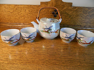 Flying CRANES MADE IN JAPAN Tea Pot Lid and 4 Tea Cups Bowls **NEVER USED**