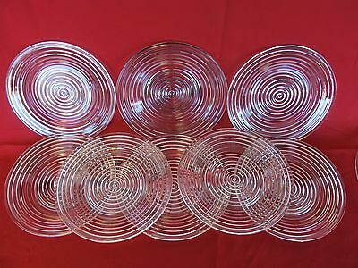 """Set Of 8 Crystal 8"""" Manhattan  Clear Ringed Ribbed Salad Or Luncheon Plates"""