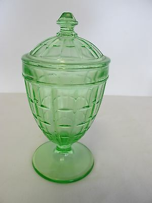 Hazel Atlas Colonial Block Green Depression Glass Candy Jar With Cover