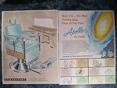 Vintage 1960 Paidar Barbershop APOLLO Chairs 2 Pg. Wild Color Drawing Sign Ad