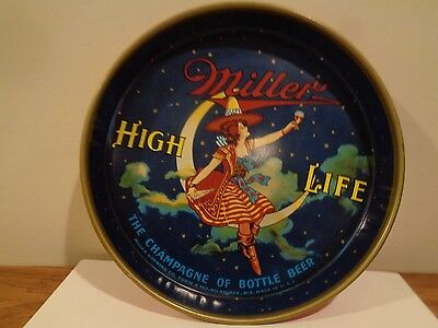 Vintage Miller High Life Lady In The Moon Beer Tray  .