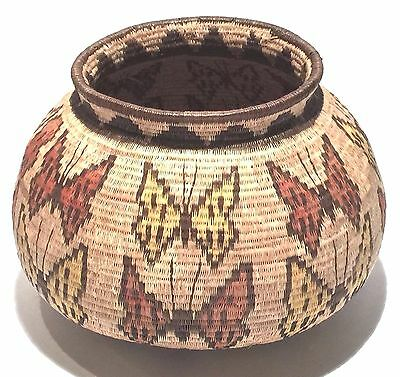 Handsome Wounann Indian Panama Vintage Fine Woven Butterfly Basket Native