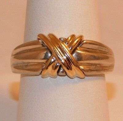 925 Sterling Silver & 14 K Yellow Gold ''x'' Ring Band. Size 7.5