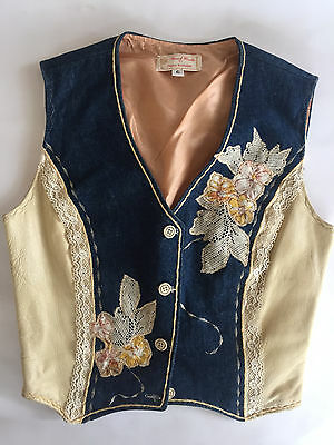 Vintage 1970's Vest Boho Hippie Denim embroidered with Appliques OOAK size XS
