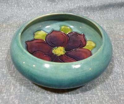Antique Moorcroft Clematis low bowl in blue.
