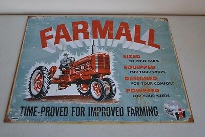 "Used Farmall Tractor Time Proved For Improved Farming 12.5"" X 16"" Metal/tin Sign"
