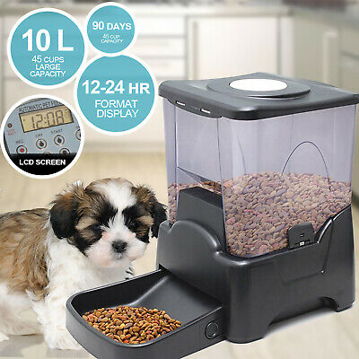 10L Pet Feeder Automatic Food Dispenser Cat Dog Bowl Digital Large Food Bowl ...