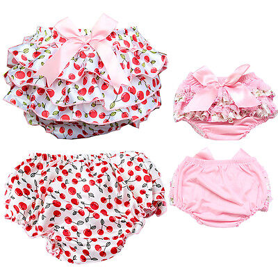 2×Toddler Baby Girl Cotton Ruffle PP Pants Underwear Bloomers Diaper Nappy Cover