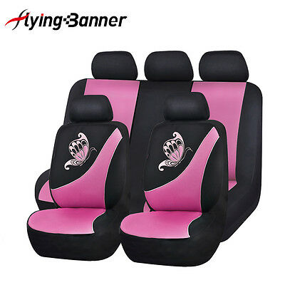 Pink Car Seat Covers Butterfly Embroidery Universal Fit 5 Seater Auto Protectors