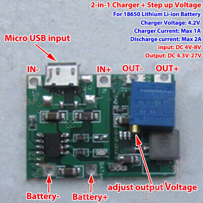 USB 3.7V 18650 Lithium Li-ion Battery Charger Module 4.2v Boost Step up 5v 12v