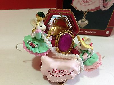 1996 Carlton Cards Sister to Sister Heirloom Ornament Mice Jewelry Box Christmas