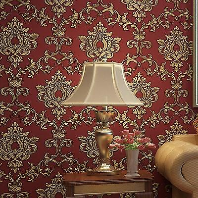 10M Antique Damask Embossed 3D Textured Feature Art Wall Paper Wallpaper Roll