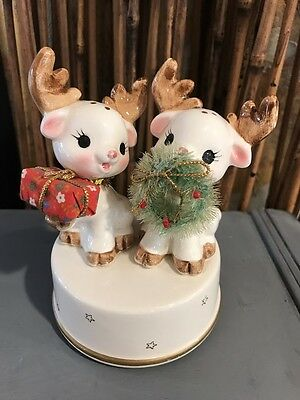 Rare Vintage Christmas Rudolph the Red Nosed Reindeer Ceramic Music Box--CUTE!!