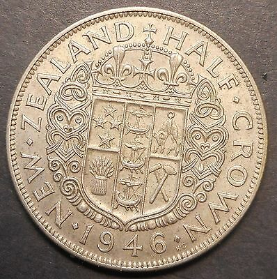 New Zealand 1946 KGVI Silver  Half Crown Coin