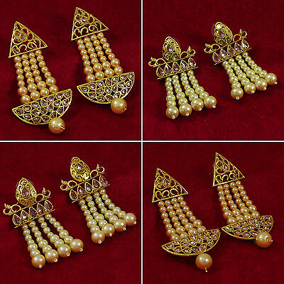 Goldtone Women Designer Drop Dangle Earring Set Traditional Jewelry BSE31-PAR