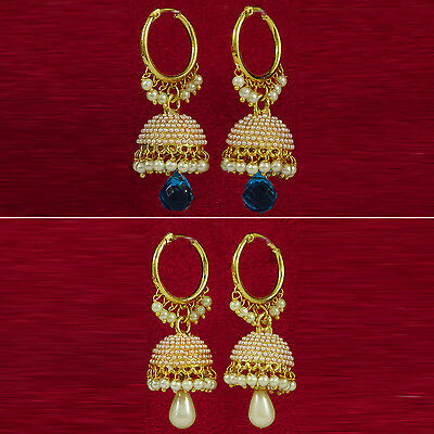 Bollywood Goldtone Drop Jhumka Earring Set Indian Women Jewelry BSE54-PAR