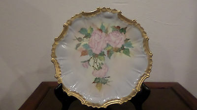 Vintage Hand painted Porcelain Plate Pink Roses Signed by Artist 1960