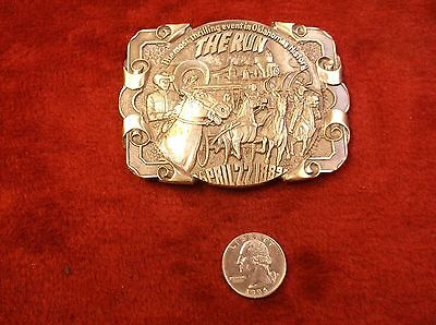 """Vtg Brass Belt Buckle """"The Run, The Most Thrilling Event In Oklahoma History"""""""