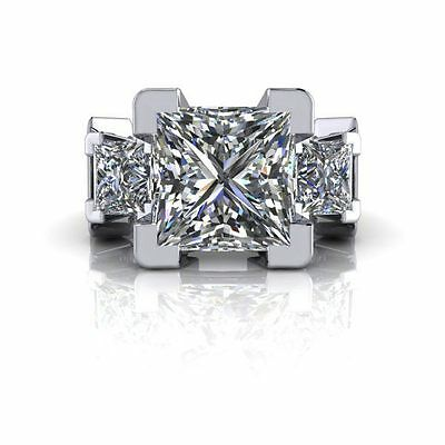 5.00Ct Princess Cut Off White Moissanite Wedding Ring 925 Sterling Silver