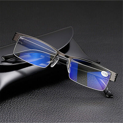 High quality Mens Half frame Style Blue Film Anti-radiation Reading glasses NEW