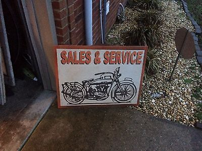 Old Rusty Metal Motorcycle Sales And Service Sign Indian Harley
