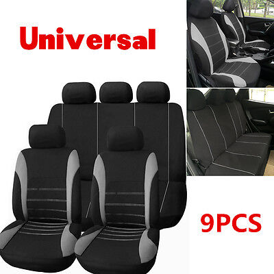 Gray Car Seat Covers Pad Mat Front Rear 9pcs/set for Auto with Headrest Cover