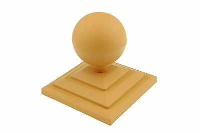 "Linic 4 x Harvest Gold Brown Round Top Fence Finial & 4"" Fence Post Cap GT0033"