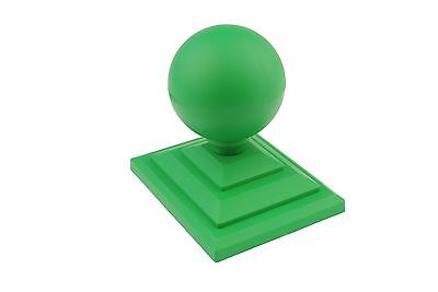 "10 x Green Sphere Round Fence Top Finial & 4"" x 3"" Post Caps Cap GT0063"