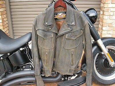 HD Distressed Brown Leather BILLINGS Jacket. Size: L