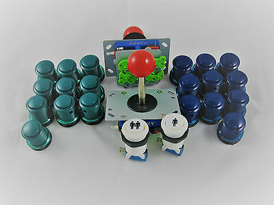 Arcade 2 Player Set 2 Joysticks 2-4-8 Wege  20 Taster Button