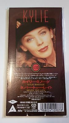"""Rare Kylie Minogue - Never Too Late (11B3-83) Japan Numbered Promo-Sample 3"""" Cds"""