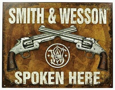 Vintage Style Tin Metal Sign Smith and Wesson Spoken Here Guns Rifles Shooting