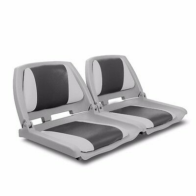 2 X Premium Boat Seat  Folding & Swivel Grey Charcoal All Weather #T