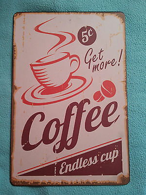Cartel Metal Coffee 30X20 Cms. Retro
