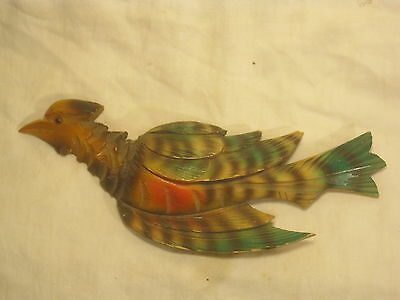 vintage cuckoo clock bird ornate carved wooden wood birdy painted topper top