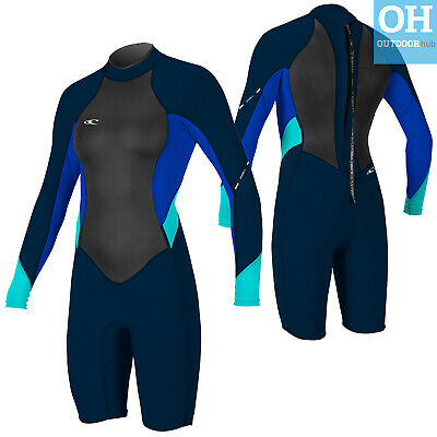 O'Neill Womens Shortie Wetsuit Bahia Long Sleeve Ladies Beach Kayak Surf Shorty