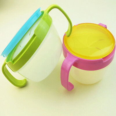 Kids Baby Snack Cup Safe Pot Baby Safety Anti-spill Design Double Handle Bowl