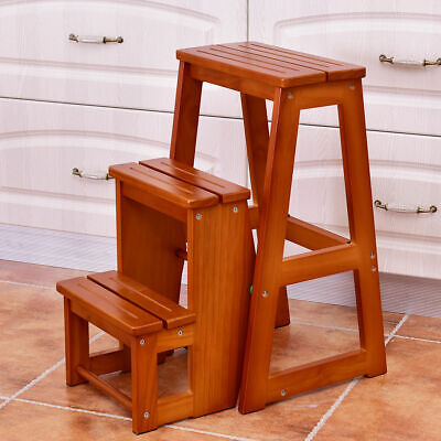 Magnificent White Wooden Folding Step Stool Seat 3 Tier Platform Ladder Short Links Chair Design For Home Short Linksinfo