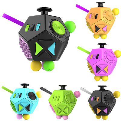 12 Side Fidget Cube Toy Anxiety Stress Attention Relief Puzzle Adult Kid Gift SG