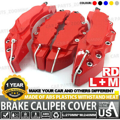 4x Disc Brake Caliper ABS Red 3D Style Front Rear Universal Car Truck Covers L+M