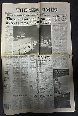 The Times Newspaper - Russian Coup (21st August 1991) 1st Section