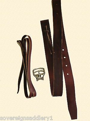 Australian Made Red Allum Leather Bate's Laces & Buckle