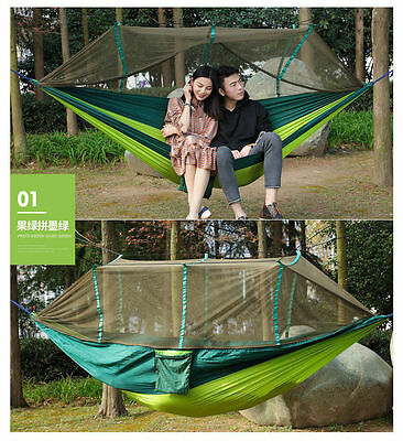 Hanging Hammock Bed With Mosquito Net Camping Travel Outdoor Tent Garden Living