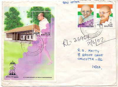 Bhutan Registered Cover Gandhi Stamp & Miniature To India.
