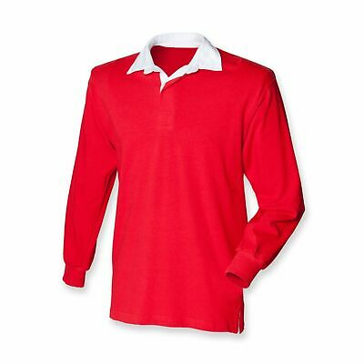 New Gents Long Sleeve Plain Front Row Rugby Shirt Top 10 Colours FR001