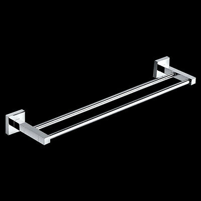 New Bathroom Square Double Towel Rail 750mm Wall Mount Brass Chrome
