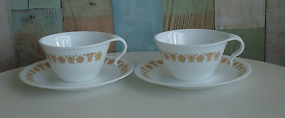 Vintage Corelle Corning USA Hook Cups & Saucers x 2 Sets *Gold Butterfly Pattern